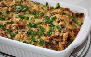 Картофельно-грибная запеканка с брынзой